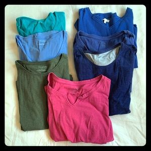 7 shirts for work or casual. Vneck and crew neck.